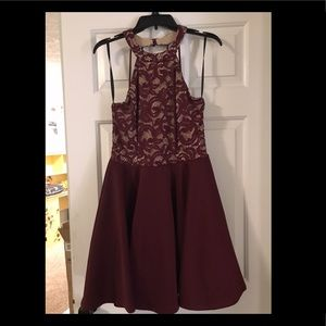 Maroon and tan dress - open/strappy back
